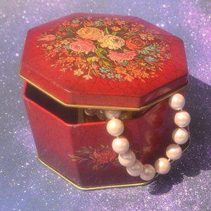 Vintage Red Floral Hinged Trinket Tin